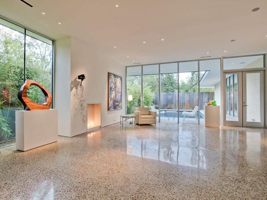 Polished concrete flooring in home